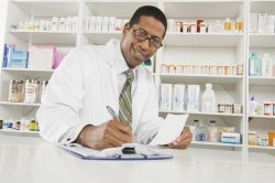 pharmacist taking-down notes