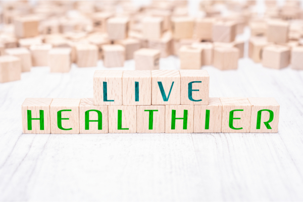 The Words ve Healthier Formed By Wooden Blocks On White Table